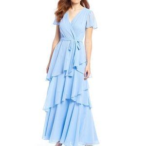 Flutter Sleeve Tiered Ruffle Chiffon Gown